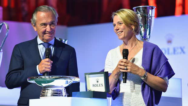 Annika Sorenstam and Jean-Noel Bioul during the Rolex Annika Major Award Ceremony