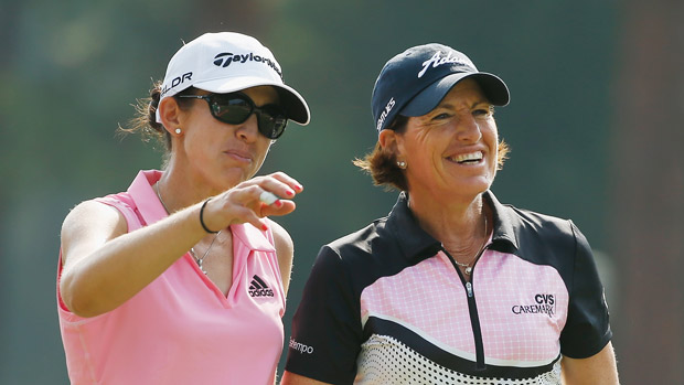 Nicole Castrale and Juli Inkster during a practice round at the U.S. Women's Open conducted by the USGA