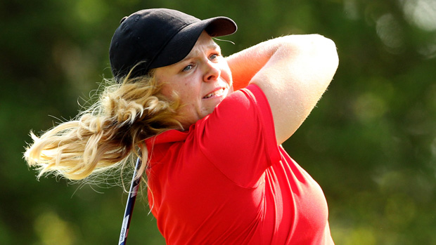 Caroline Hedwall during a practice round prior to the start of the U.S. Women's Open