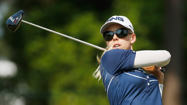 Pernilla Lindberg during a practice round at the U.S. Women's Open conducted by the USGA
