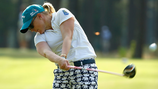 Morgan Pressel during a practice round at the U.S. Women's Open conducted by the USGA