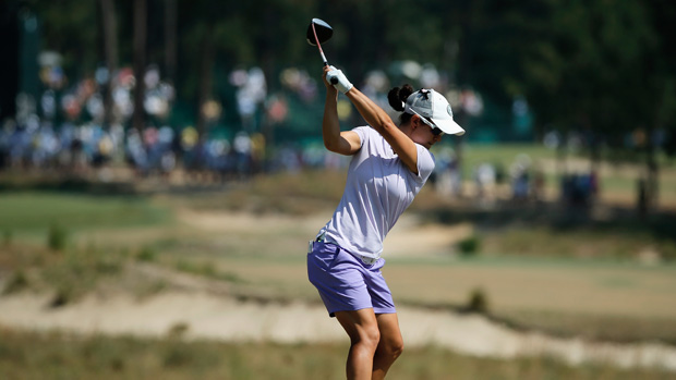 Dewi Claire Schreefel during the first round of the U.S. Women's Open