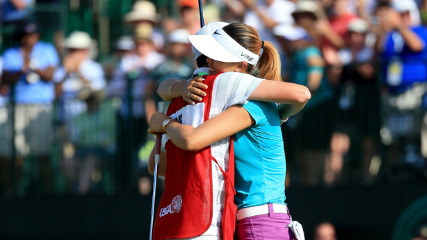 Michelle Wie celebrate during the final round of the U.S. Women's Open