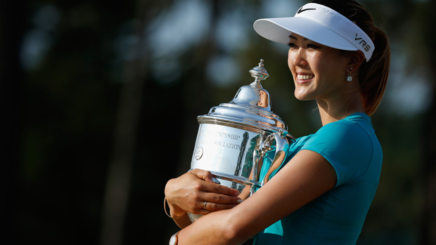 Michelle Wie poses with the trophy during the final round of the U.S. Women's Open