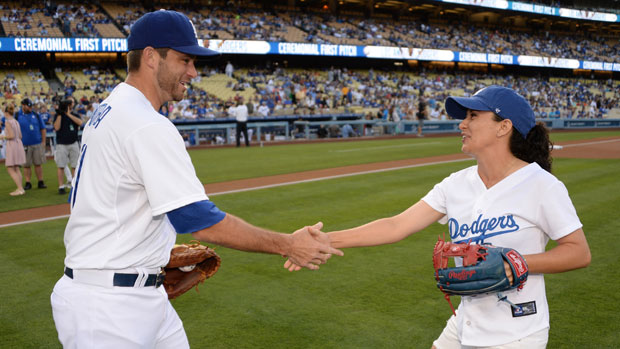 Mo Martin with Drew Butera of the Los Angeles Dodgers