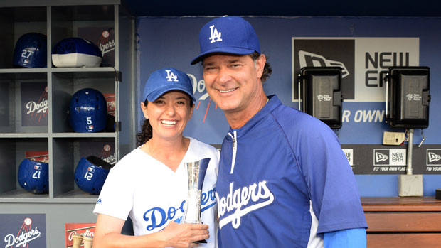 Mo Martin with Don Mattingly of the Los Angeles Dodgers