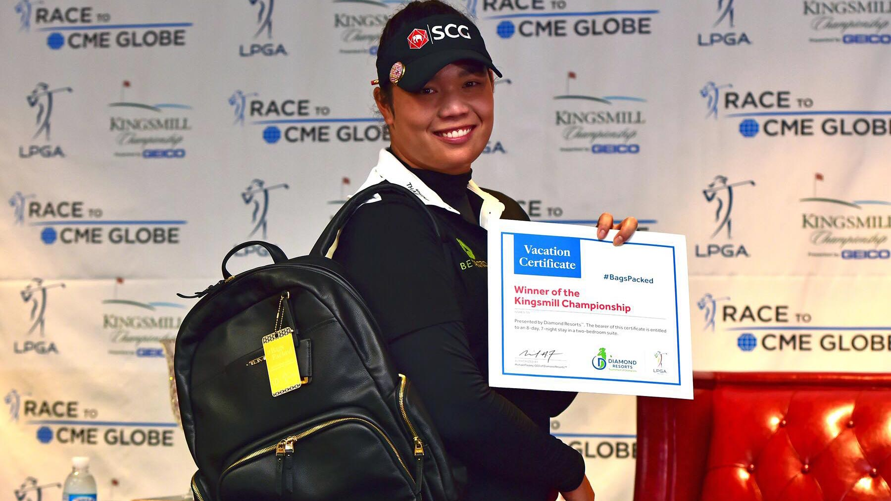 Ariya Jutanugarn has her #BagsPacked for the 2019 Diamond Resorts Tournament of Champions after her win at the 2018 Kingsmill Championship presented by GEICO