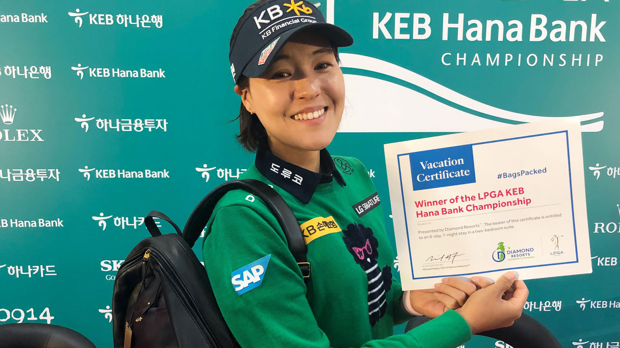 In Gee Chun has her #BagsPacked for the 2019 Diamond Resorts Tournament of Champions presented by Insurance Office of America after her victory at the 2018 LPGA KEB Hana Bank Championship