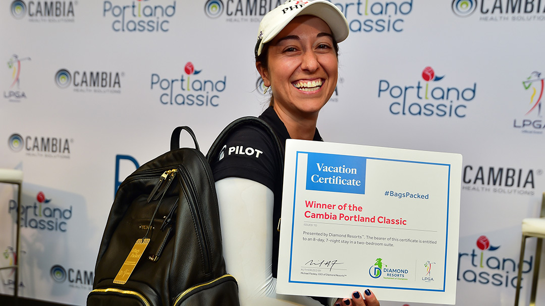 Marina Alex has her #BagsPacked for the 2019 Diamond Resorts Tournament of Champions after her first career victory at the Cambia Portland Classic