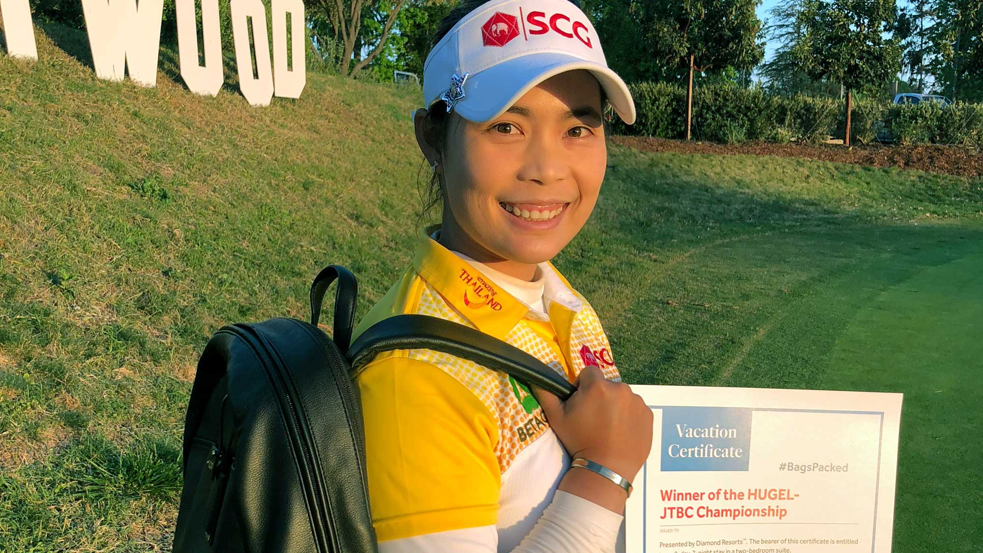 Moriya Jutanugarn has her #BagsPacked for the 2019 Diamond Resorts Tournament of Champions after her victory at the HUGEL-JTBC LA Open