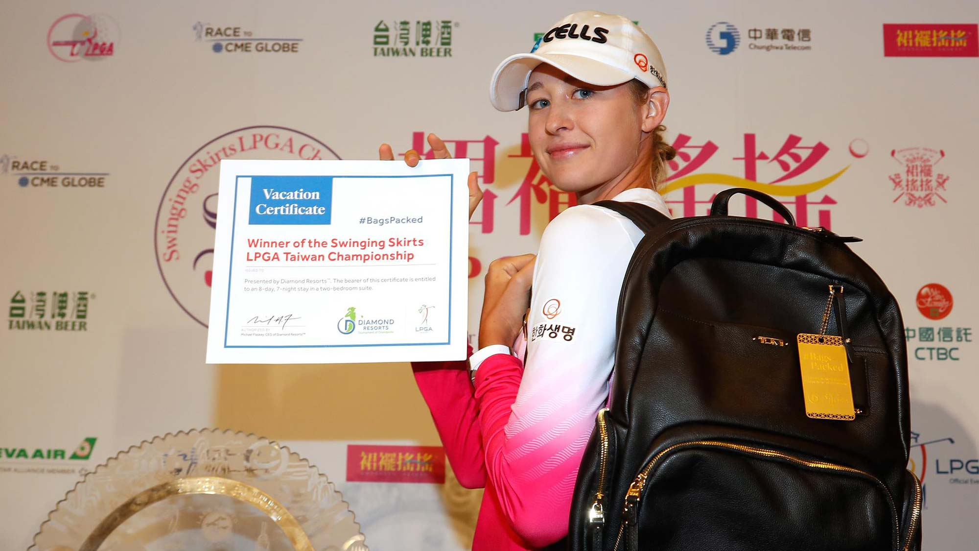 Nelly Korda has her #BagsPacked for the 2019 Diamond Resorts Tournament of Champions Presented by IOA after her first career victory at the Swinging Skirts LPGA Taiwan Championship presented by CTBC