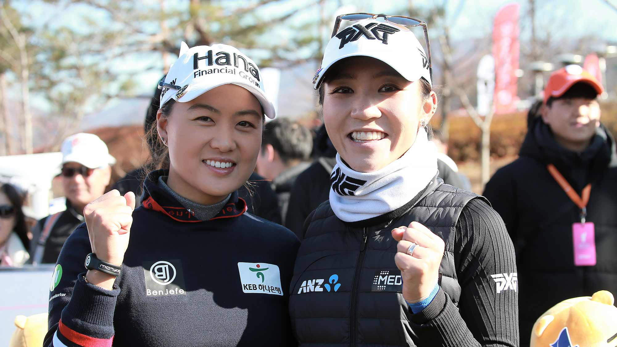 Minjee Lee and Lydia Ko pose for a photo during the Orange Life Champions Trophy Inbee Park Invitational at Blue One The Honors Country Club in Gyeongju, Republic of Korea