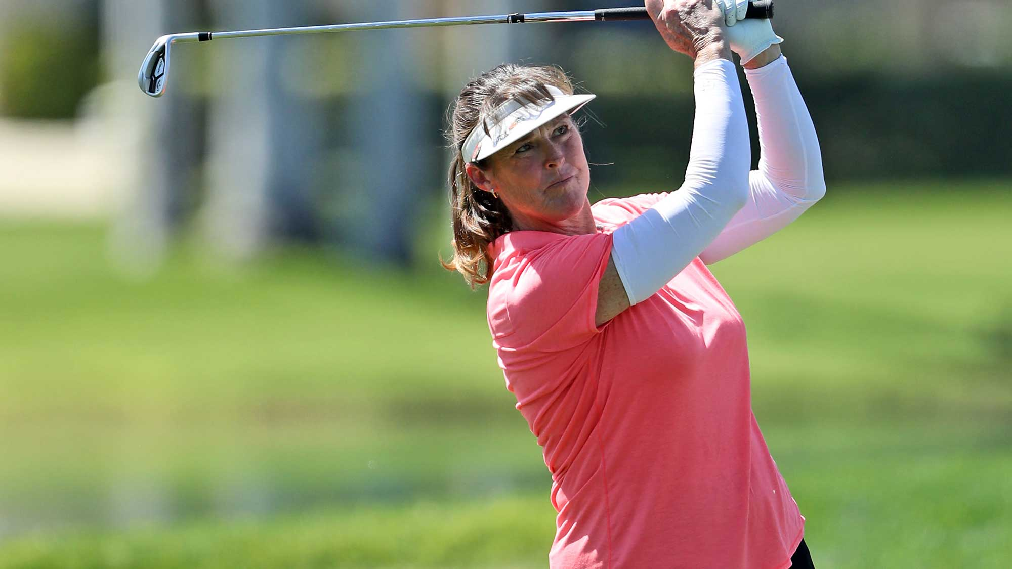 Donna Andrews of the United States plays her third shot on the par 5, 18th hole during the second round of the 2018 ANA Inspiration
