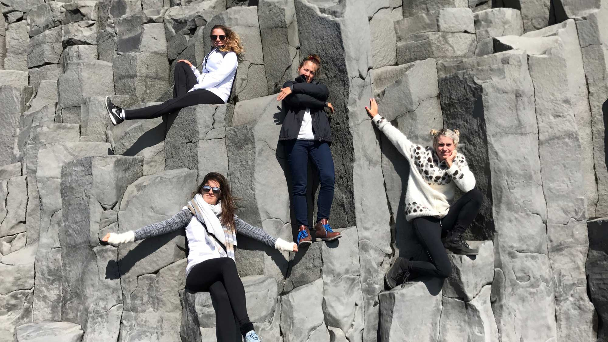Kristinsdottir, Gal, Hurst and Lopez Pose in Iceland