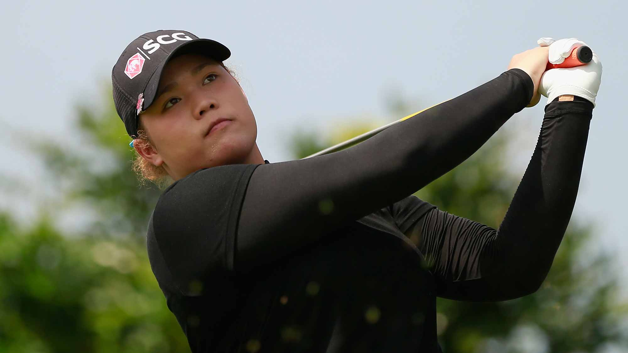 Ariya Jutanugarn of Thailand tee off at Blue Bay LPGA during Round 1