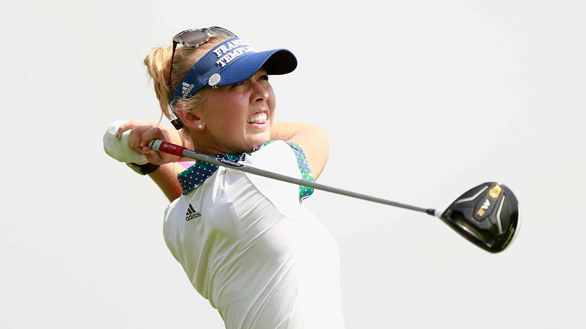 Jessica Korda of United States tee off at Blue Bay LPGA during Round 1