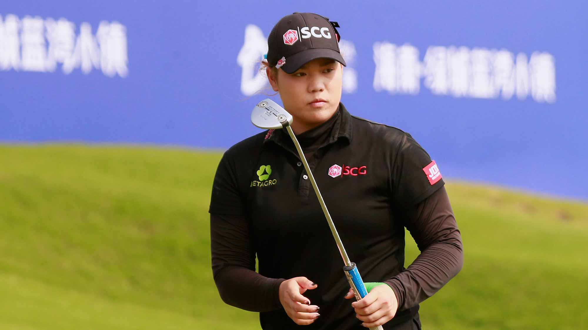 Ariya Jutanugarn of Thailand in action at the 18th green during Round 3 of Blue Bay LPGA of Day 3
