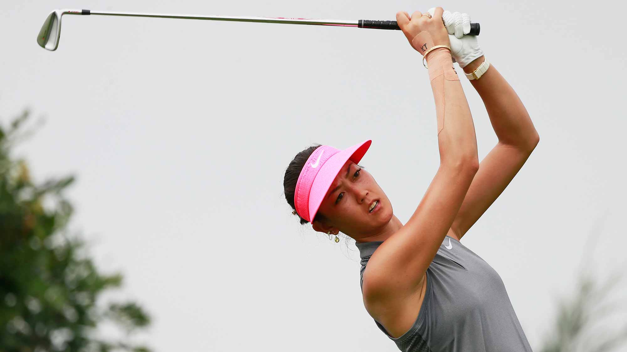 Michelle Wie of United States tees off during Round 3 of Blue Bay LPGA on Day 3