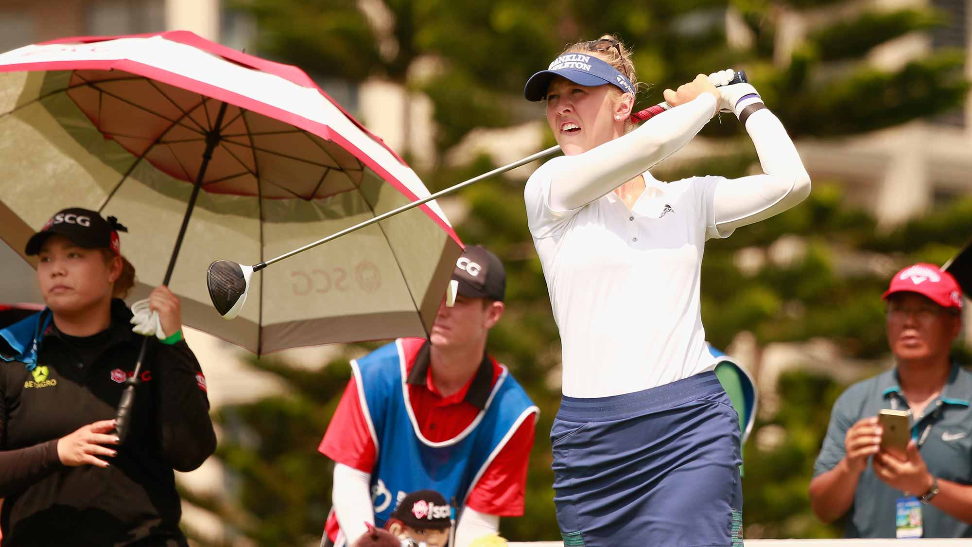 Jessica Korda of United States tee off during the final round of Blue Bay LPGA on Day 4