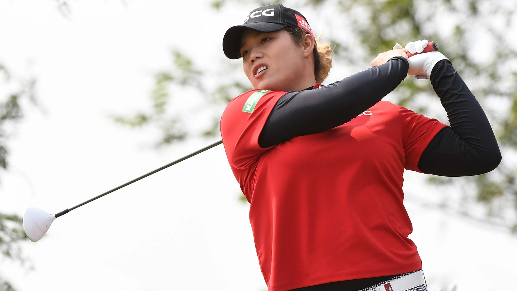 Ariya Jutanugarn of Thailand plays a shot during the first round of the Buick LPGA Shanghai