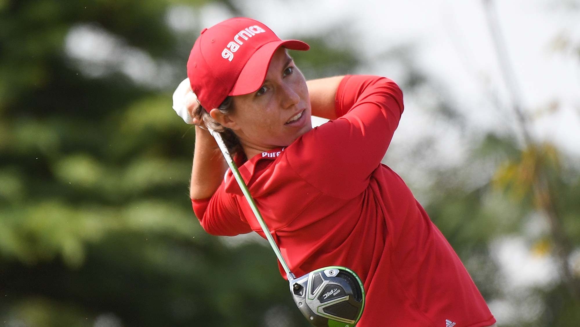 Carlota Ciganda of Spain plays a shot during the second round of the Buick LPGA Shanghai