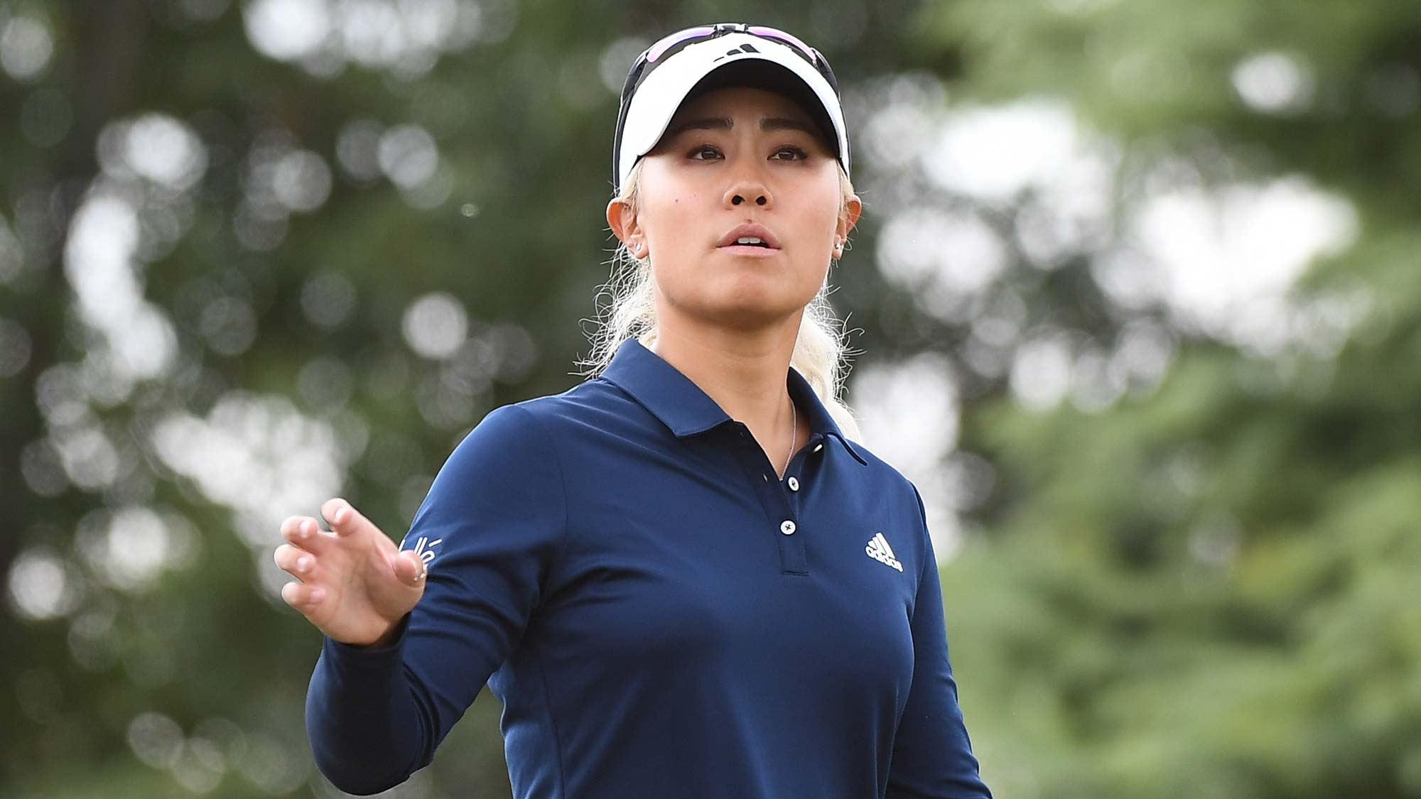 Danielle Kang of the United States plays a shot during the second round of the Buick LPGA Shanghai