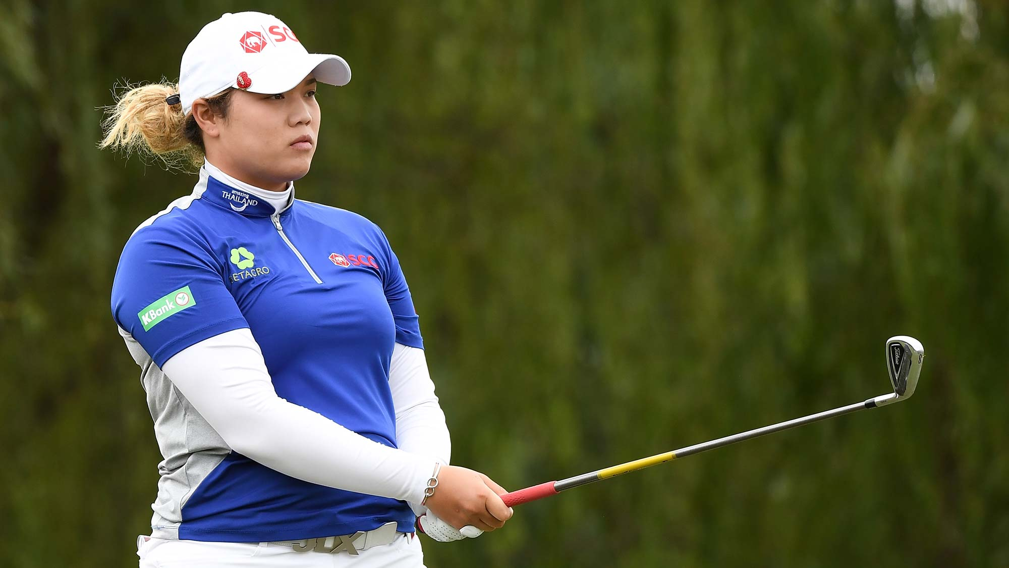 Ariya Jutanugarn of Thailand plays a shot during the third round of the Buick LPGA Shanghai