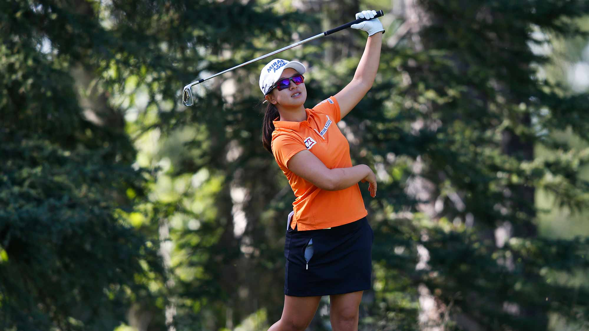 Sei Young Kim of South Korea reacts to her tee shot on the 8th hole during the second round of the Canadian Pacific Women's Open at Priddis Greens Golf and Country Club