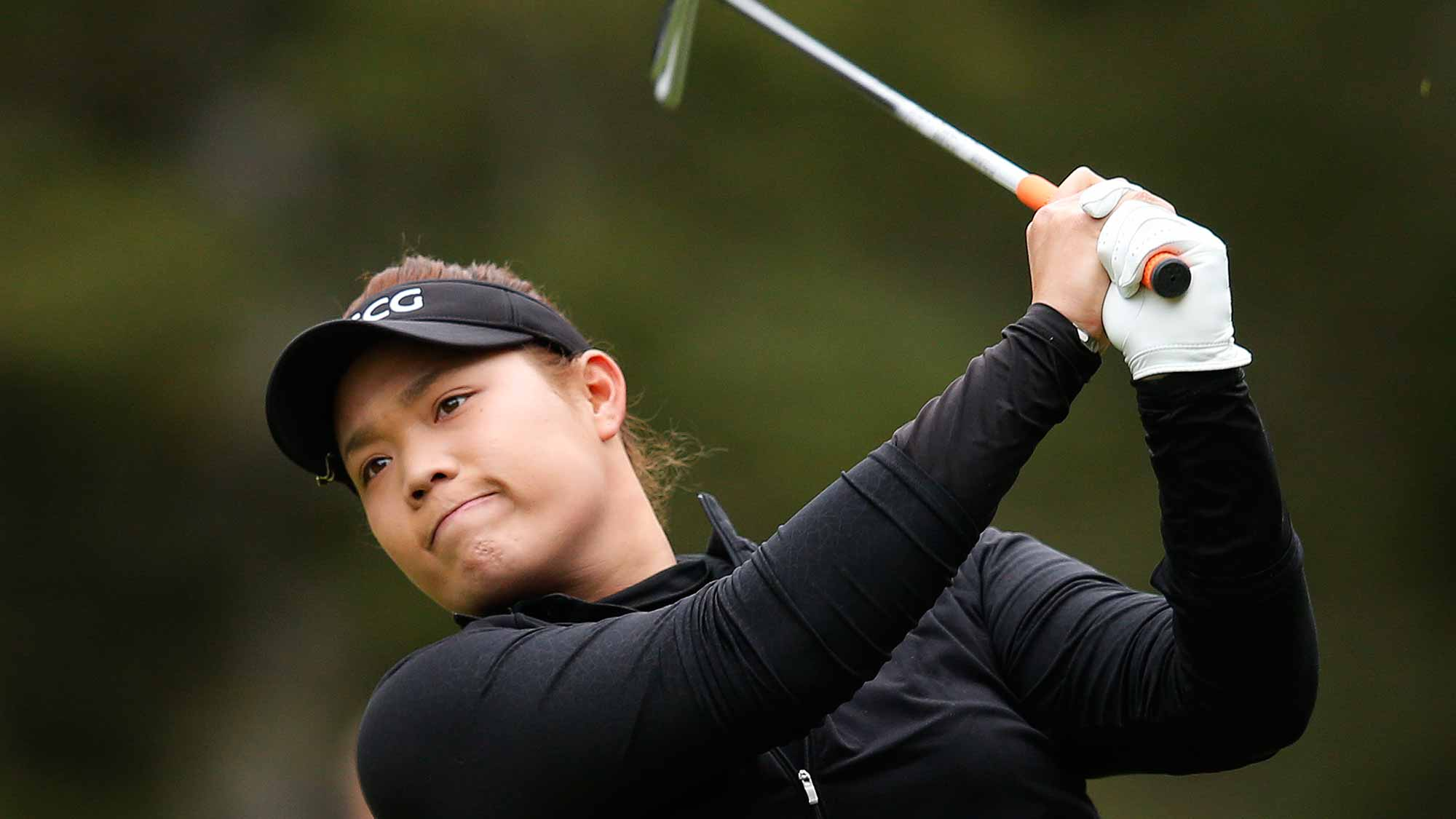 Ariya Jutanugarn of Thailand tees off on the second hole during the final round of the Canadian Pacific Women's Open at Priddis Greens Golf and Country Club