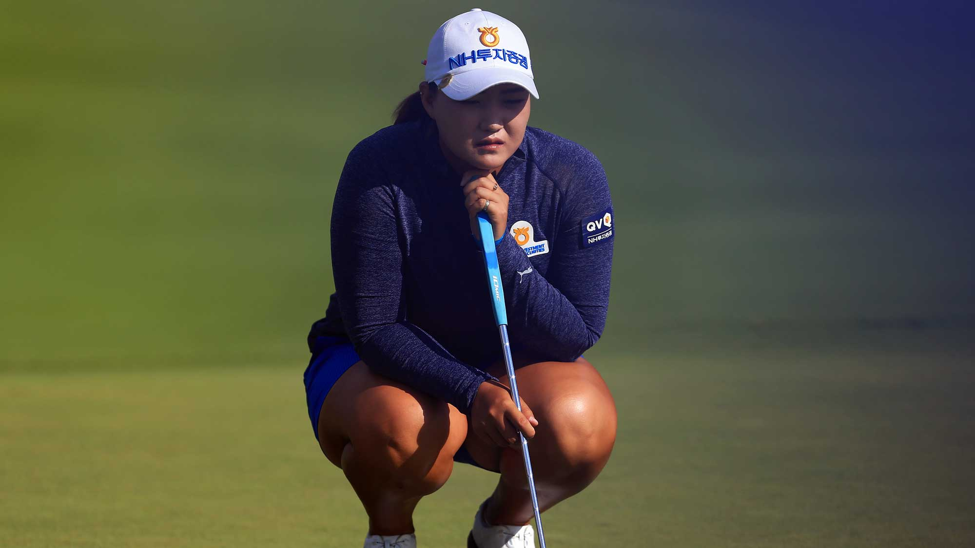 Mirim Lee of South Korea eyes up a putt on the 18th green during round three of the Canadian Pacific Women's Open