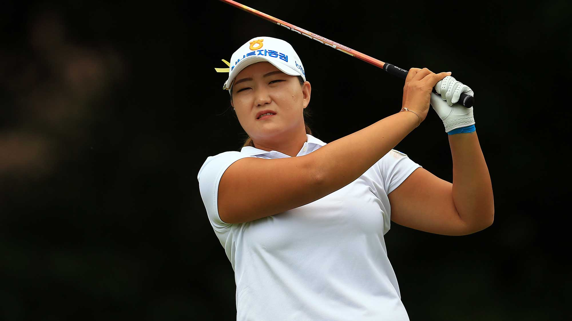 Mirim Lee of South Korea hits her tee shot on the 4th hole during the final round of the Canadian Pacific Women's Open