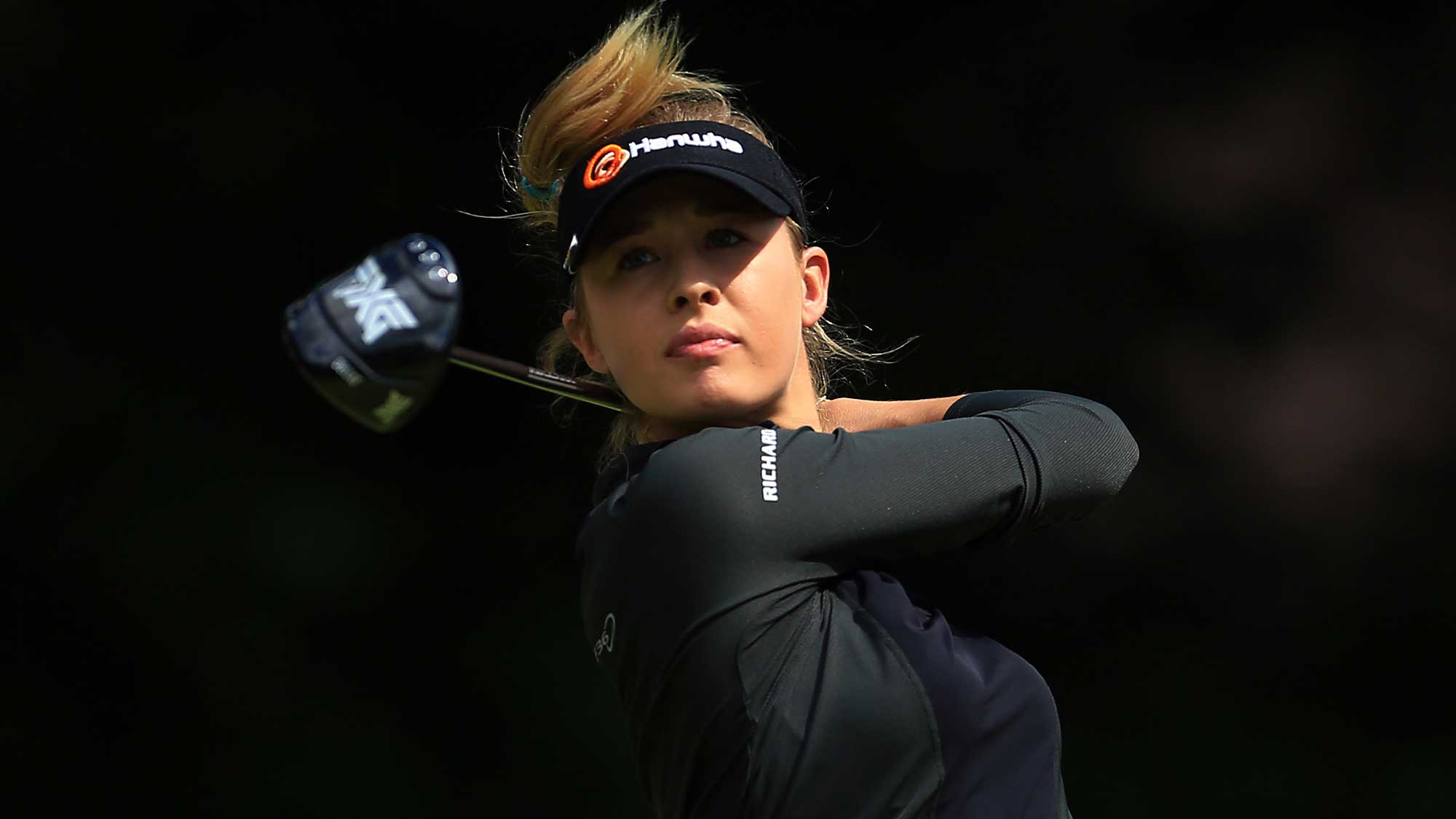Nelly Korda of the United States hits her tee shot on the 4th hole during the final round of the Canadian Pacific Women's Open