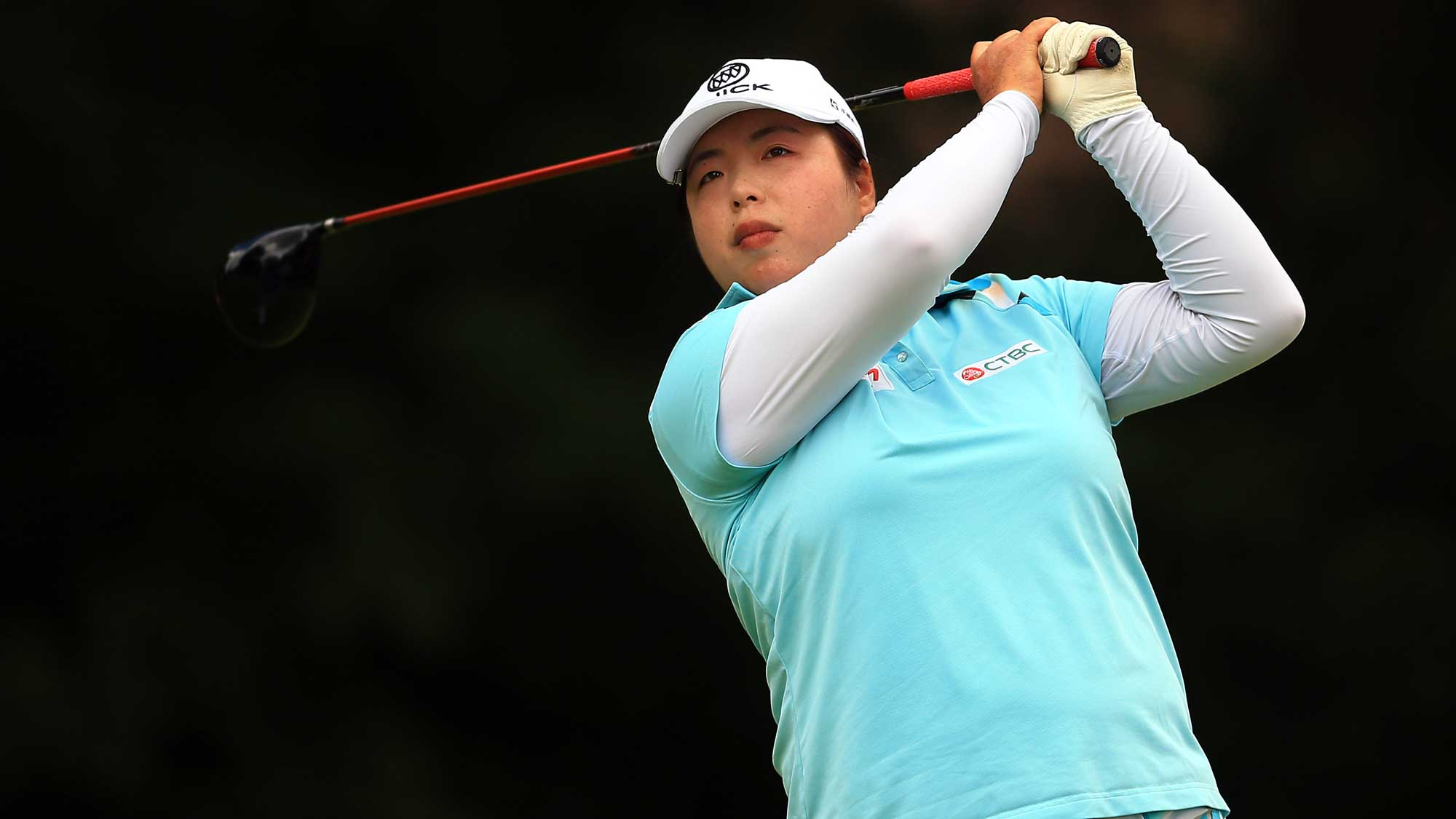 Shanshan Feng of China hits her tee shot on the 4th hole during the final round of the Canadian Pacific Women's Open