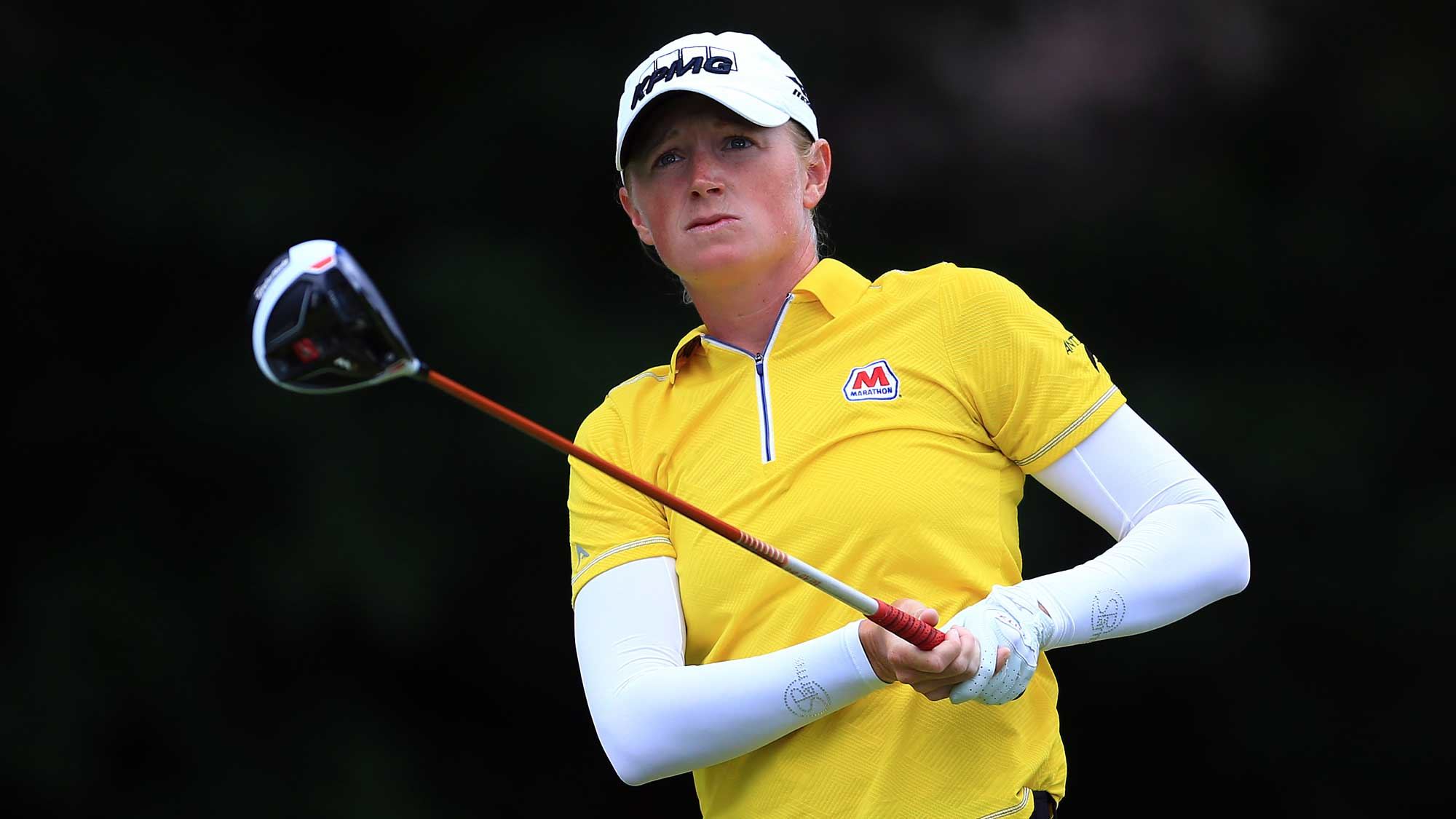Stacy Lewis of the United States hits her tee shot on the 4th hole during the final round of the Canadian Pacific Women's Open