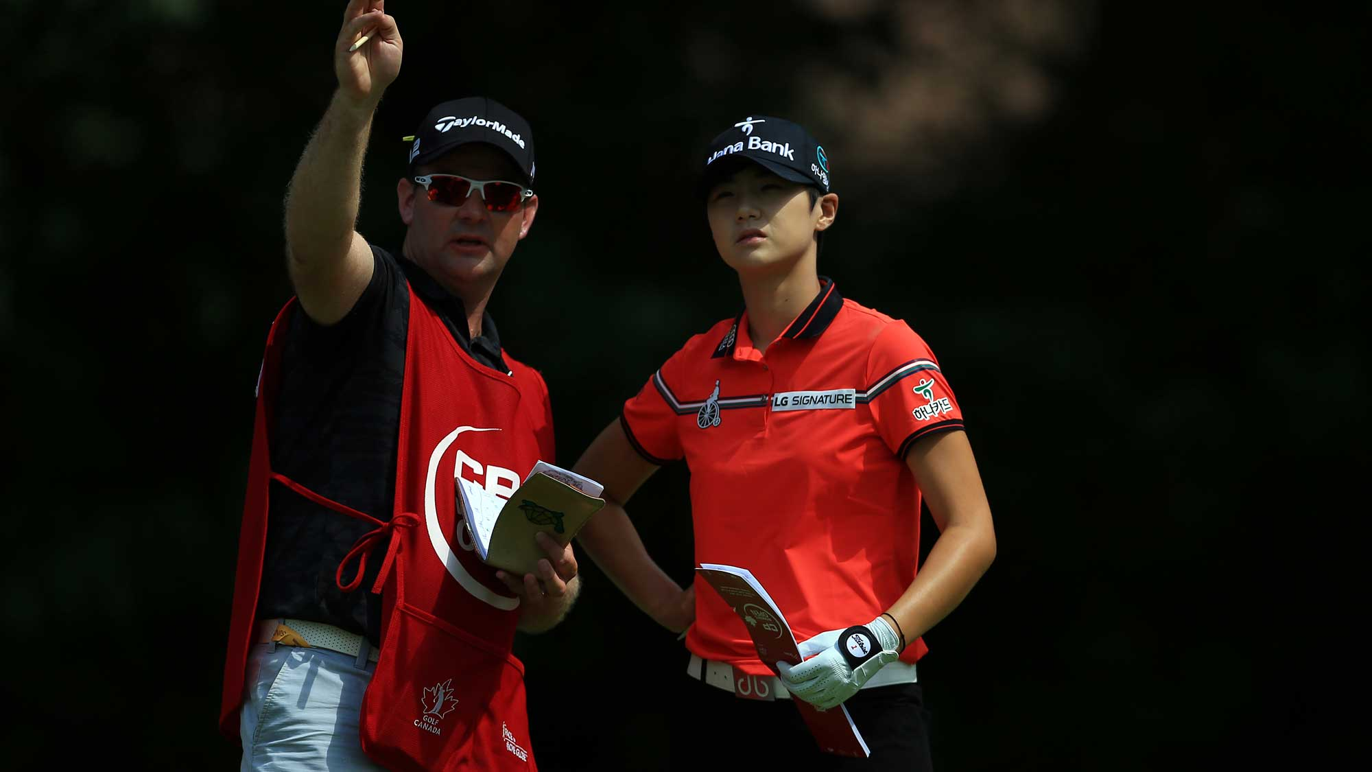 Sung Hyun Park of Korea prepares to hit her tee shot on the 4th hole during the final round of the Canadian Pacific Women's Open