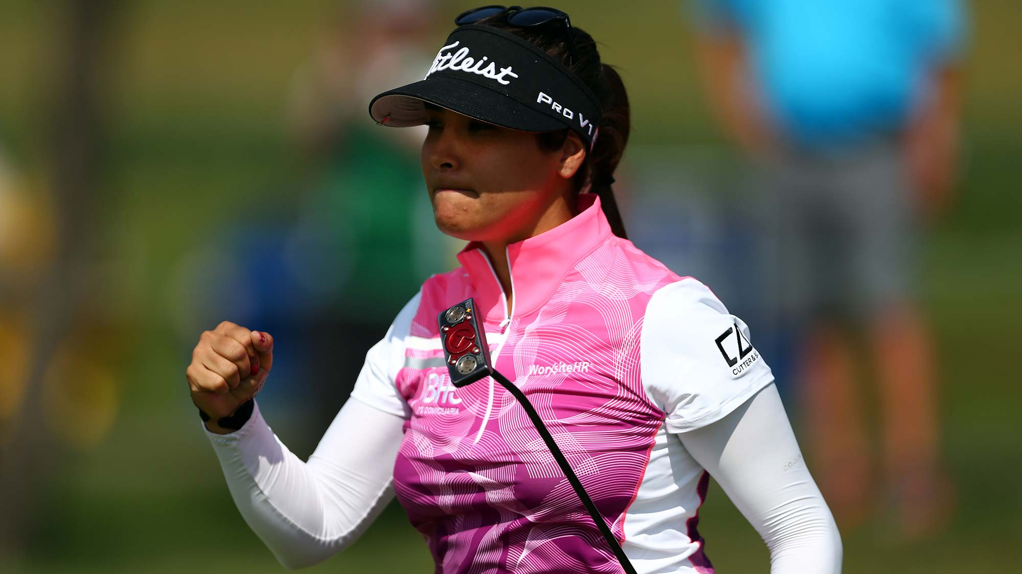 Mariajo Uribe of Colombia reacts after sinking a long put on the ninth green during the first round of the CP Womens Open