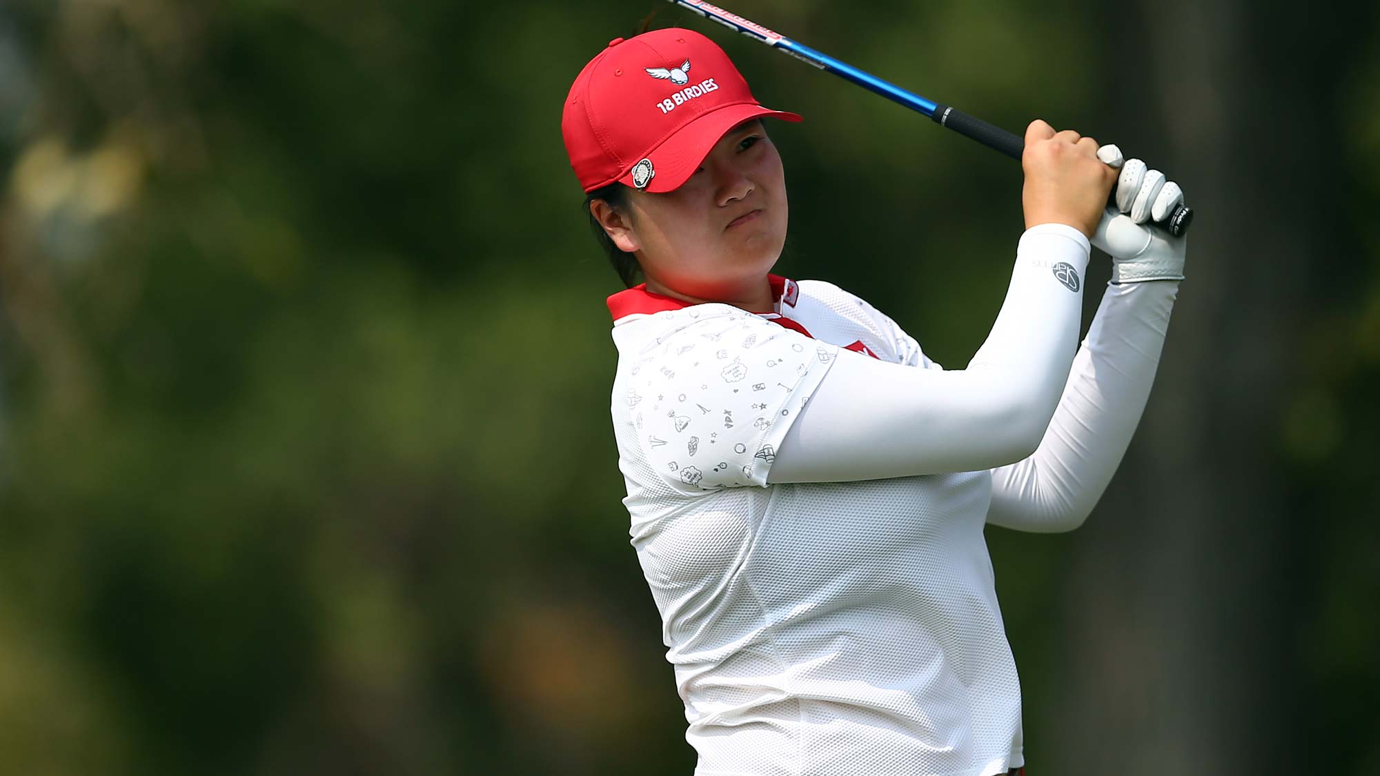Angel Yin of the United States hits her tee shot on the 9th hole during the second round of the CP Womens Open