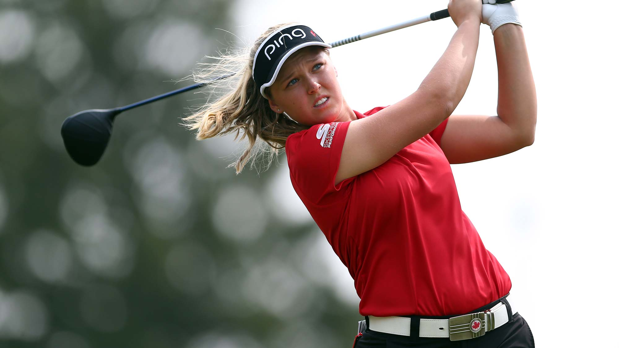 Brooke Henderson of Canada hits her tee shot on the 4th hole during the second round of the CP Womens Open