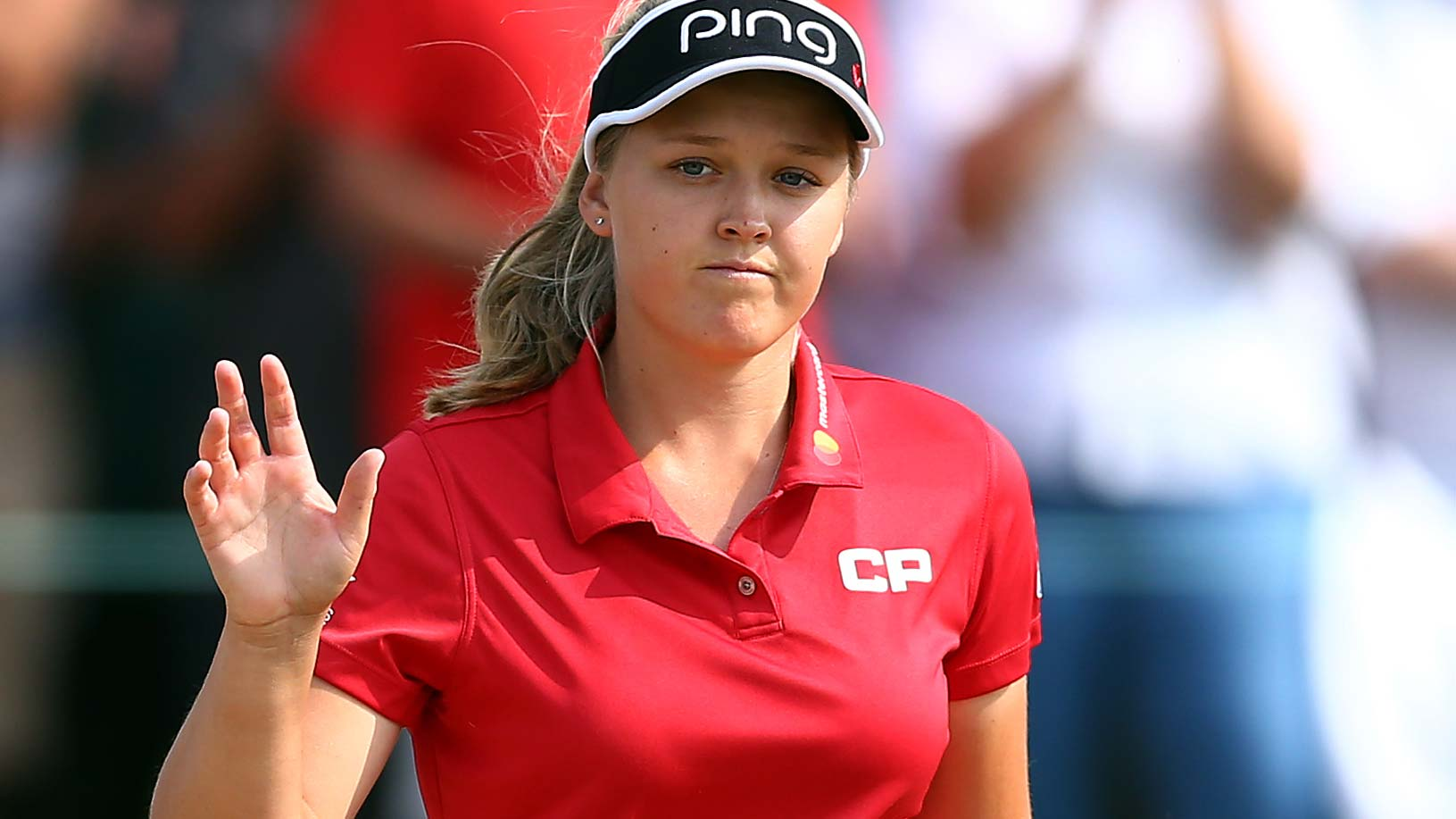 Brooke Henderson of Canada reacts to fans applause on the 17th hole during the second round of the CP Womens Open