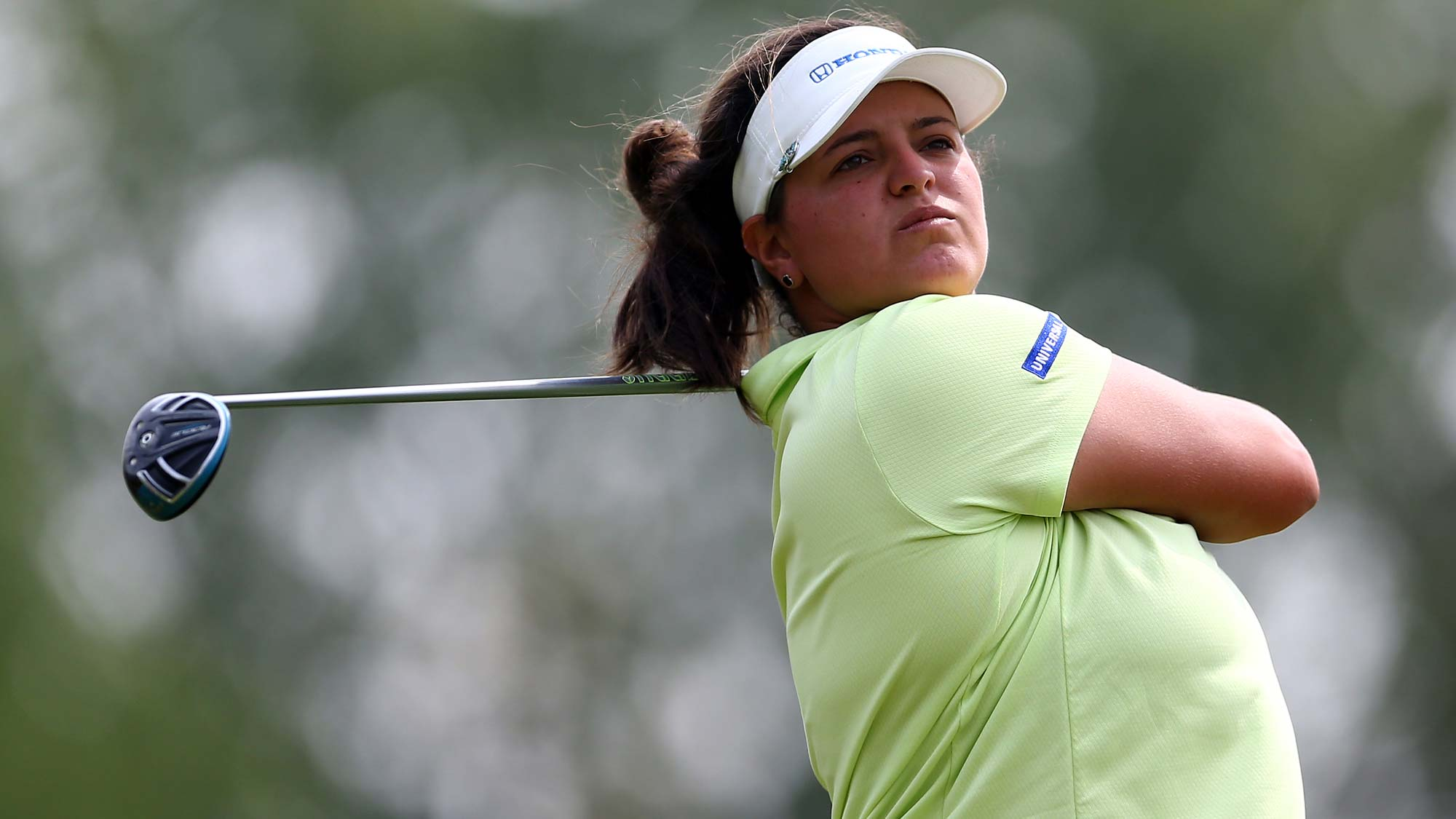 Maria Torres of Puerto Rico hits her tee shot on the 4th hole during the second round of the CP Womens Open