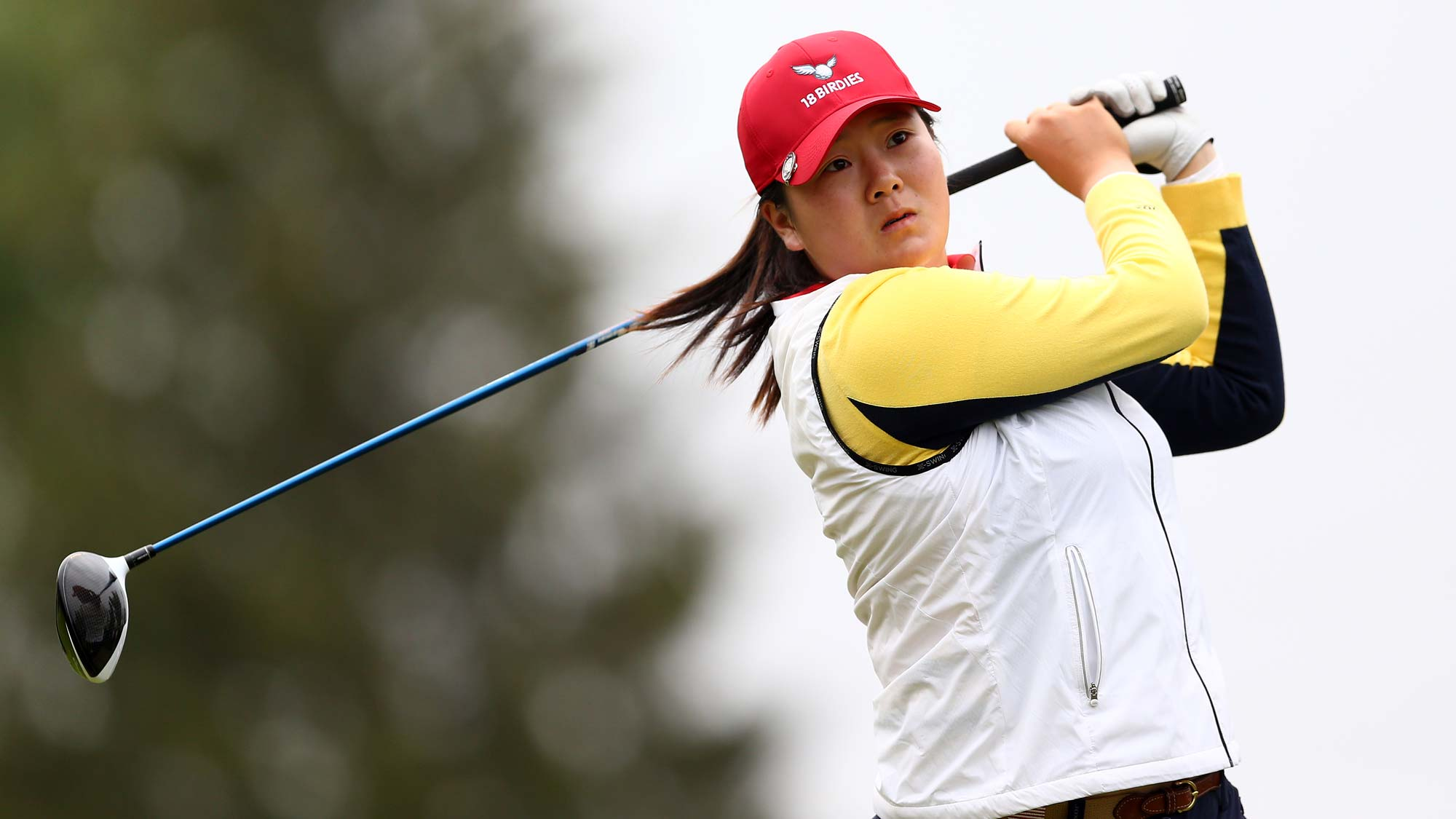 Angel Yin of the United States hits her tee shot on the 4th hole during the final round of the CP Womens Open