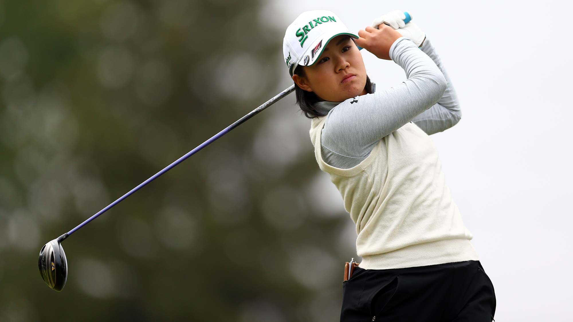 Nasa Hataoka of Japan hits her tee shot on the 4th hole during the final round of the CP Womens Open