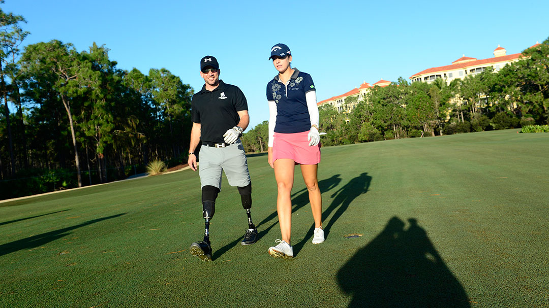 Kim Kaufman and Dan Nevins (Director, Warriors Speak at Wounded Warrior Project) during the Tuesday ProAm at the 2015 CME Group Tour Championship
