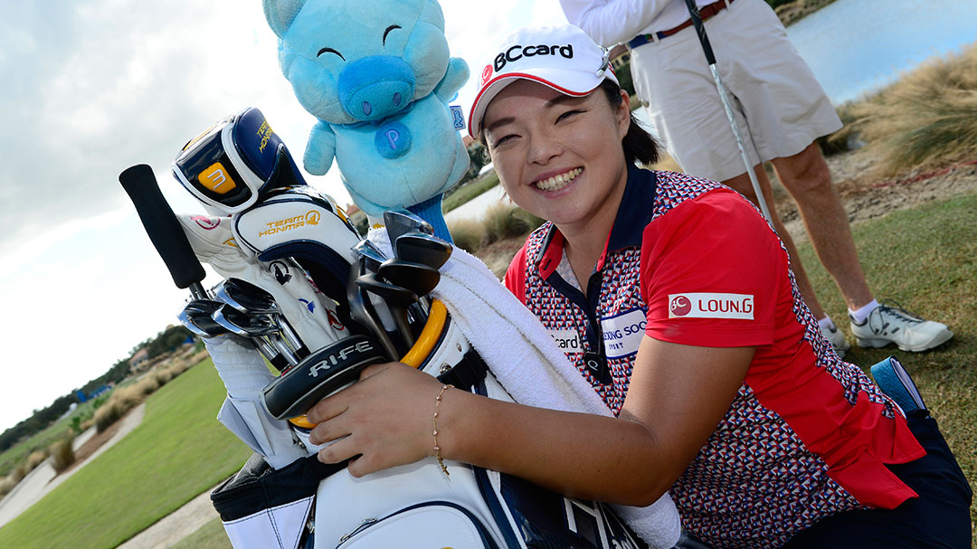 Ha Na Jang during the CME Group Tour Championship Tuesday ProAm