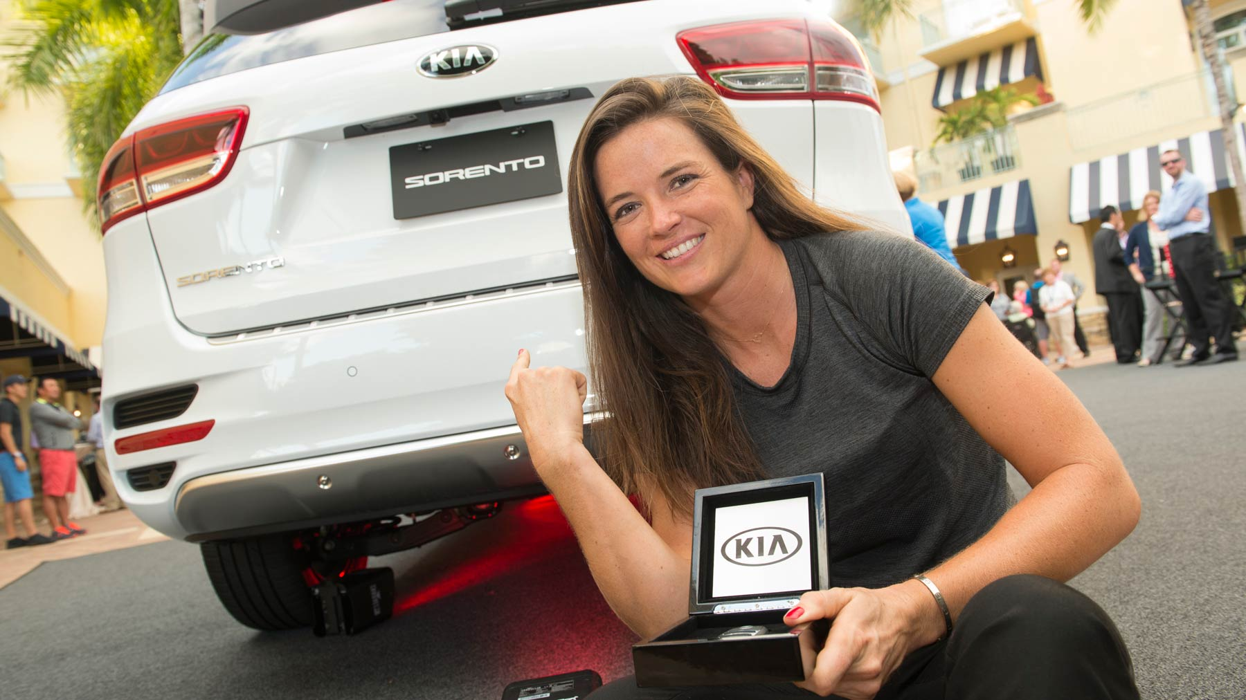 2015 Kia Power Drive Award Winner Joanna Klatten with her new 2016 Kia Sorento
