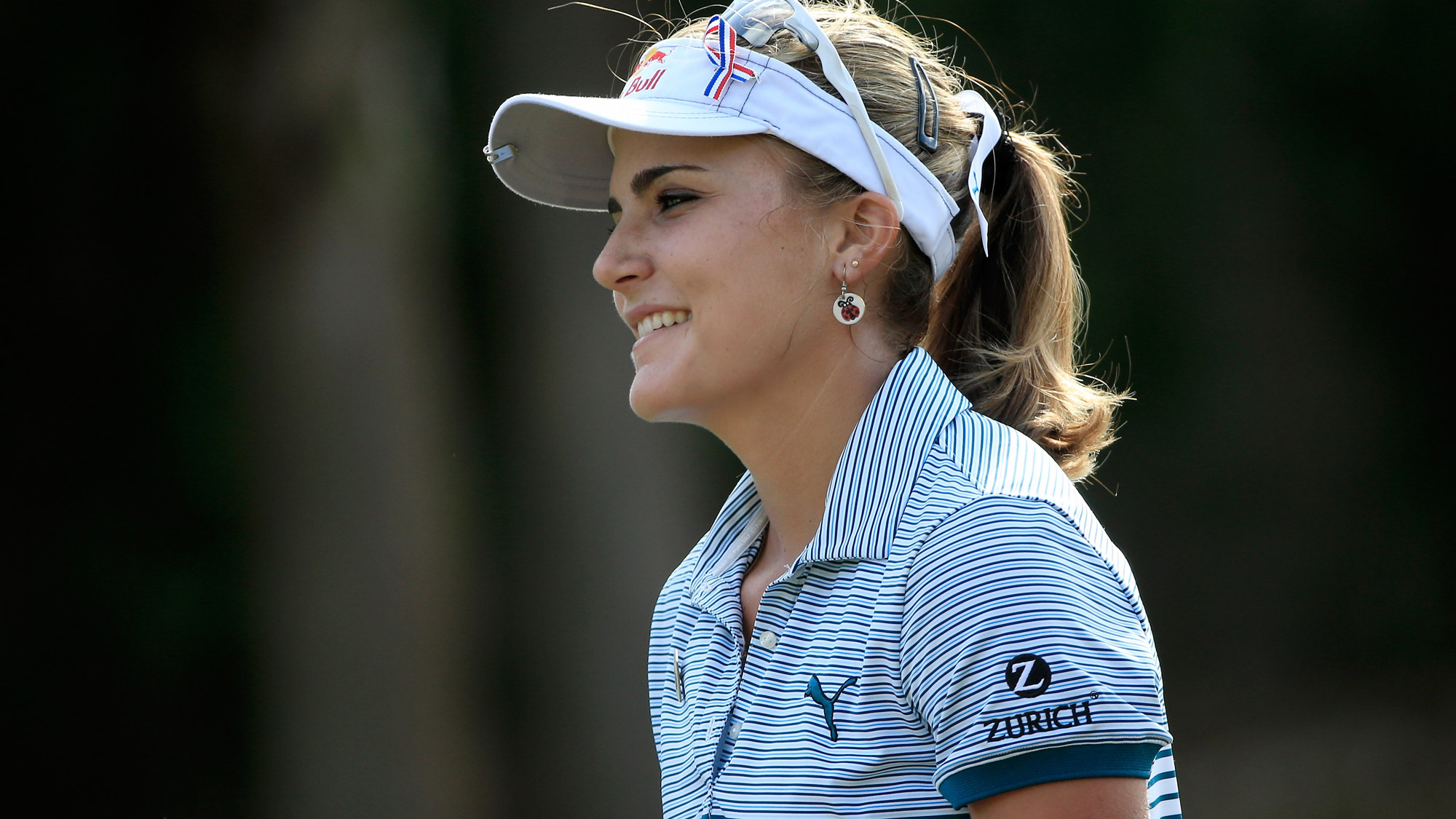 Lexi Thompson of the United States smiles on the second hole during the first round of the CME Group Tour Championship at Tiburon Golf Club