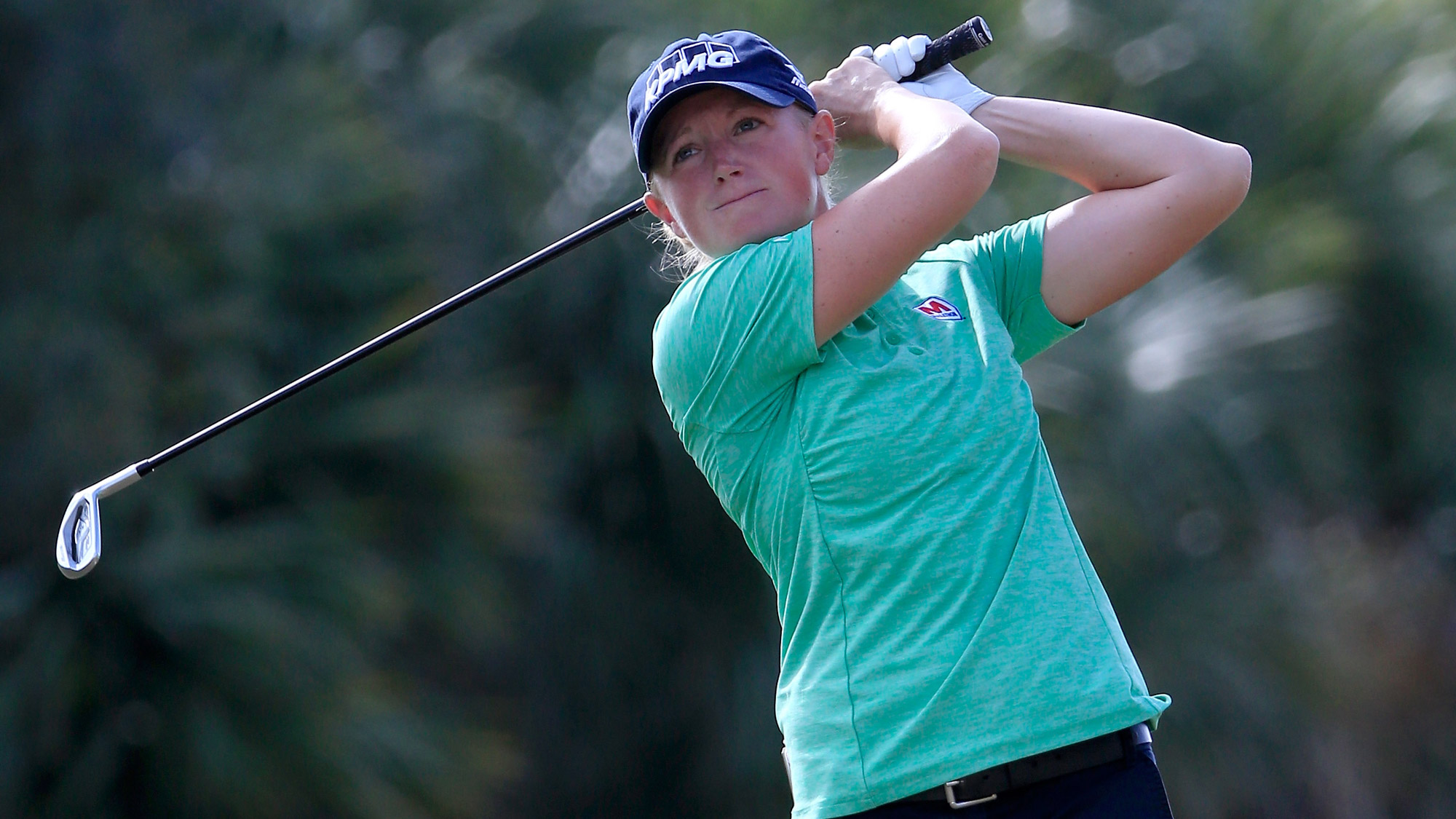 Stacy Lewis of the United States plays a shot on the second hole during the first round of the CME Group Tour Championship at Tiburon Golf Club
