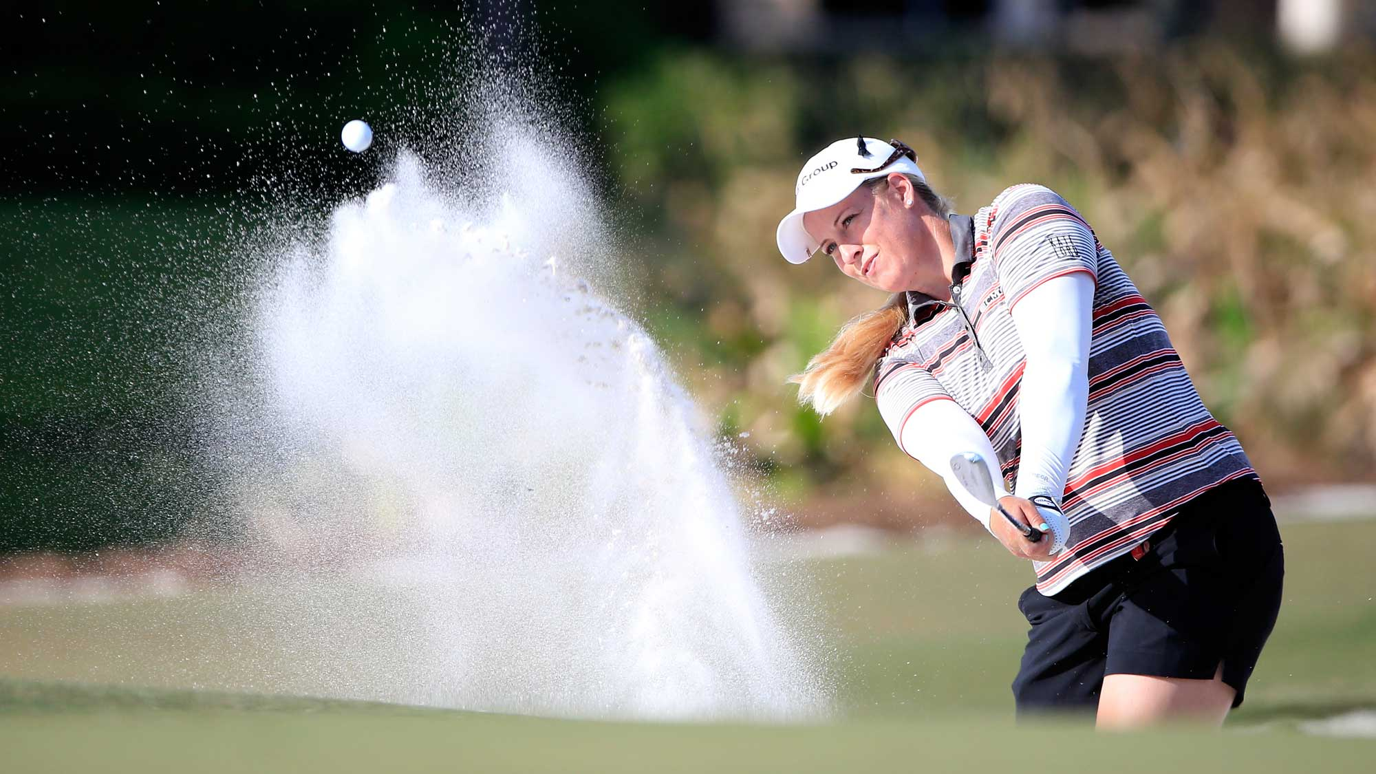 Brittany Lincicome of the United States plays a shot on the 17th hole during the second round of the CME Group Tour Championship at Tiburon Golf Club