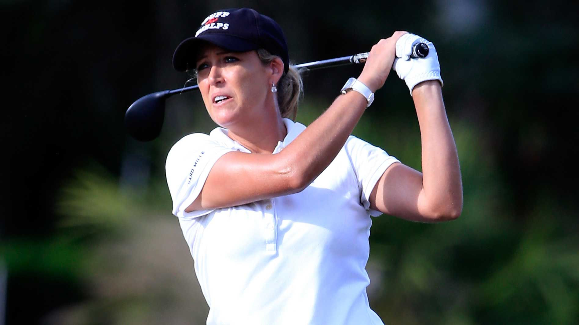 Cristie Kerr of the United States plays a shot on the 17th hole during the second round of the CME Group Tour Championship at Tiburon Golf Club