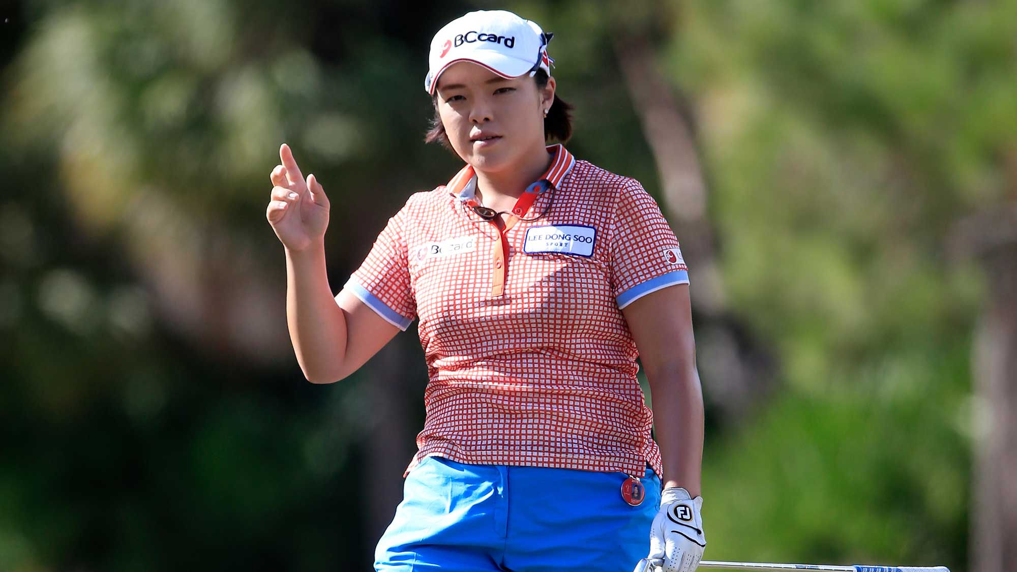 Ha Na Jang of South Korea reacts a birdie on the 16th hole during the second round of the CME Group Tour Championship at Tiburon Golf Club